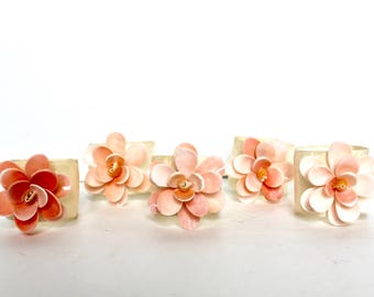 Vintage Colourful Colorful Flower Shaped Napkin Rings - set of 5 / Shell napkin rings - Pilipines