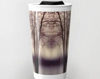 Ceramic Travel Mug - Abstract Trees Photograph - Coffee Travel Mug - Hot or Cold Travel Mug - 12oz Travel Mug - Made to Order