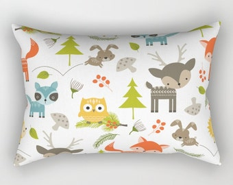 Nursery Pillow, Woodland Animals Throw Pillow, Animal Pillow, Fox Throw Pillow, Owl Throw Pillow, Rabbit Pillow, Raccoon Pillow, Wildlife