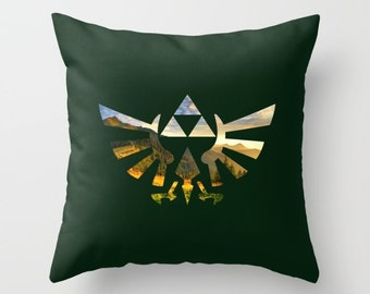Zelda Pillow Cover, Legend of Zelda Pillow Cover, Triforce Mountain View on Dark Green Pillow Cover, Hylian Royal Crest Cushion Cover