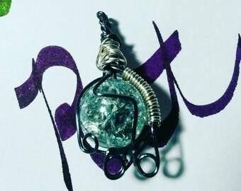Blue-Gray Wire Wrapped Marble Pendant