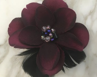 Large Purple Flower Brooch with Crystal Beads and Feathers
