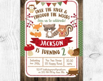Woodland Birthday Invitation, Woodland Invitation, Enchanted Forest Invitation, DIGITAL