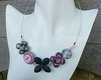 Clearance, Colourful necklace, Tropical necklace, Flower necklace, Girly necklace, pink necklace, black necklace, flower jewellery
