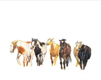 Watercolor & Ink American Mustangs Limited Edition Print