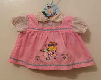 VTG Cotton Candy Baby Girl Dress Pink Flowers Sz 3-6M