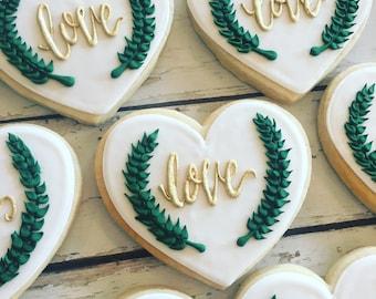 Chic greenery wedding cookies
