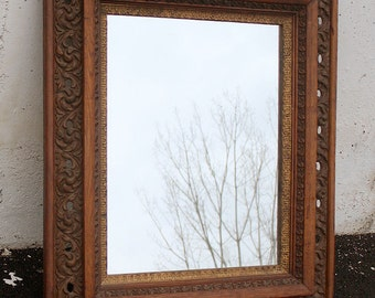 "26""x30"" Ornate Antique Vintage Oak Wood Wooden Hanging Wall Mirror Glass Frame"