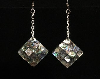 Handmade Square Abalone and Mother of Pearl Pierced Earrings (ABX1E)