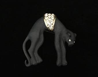 Vintage Rare MEESCO Black Panther Brooch with Rhinestones (Tier 2)