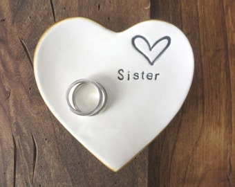 Gift for Sister, Ring dish, wedding ring holder, Gift from Sister, Heart dish, White Pottery, Gift for Sibling, Best friend Gift