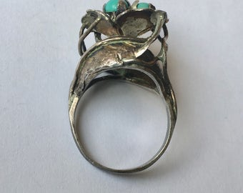fantastically tall turquoise flower ring, size 6