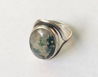 vintage sterling moss agate ring, size 8