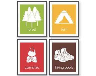 Camping Nursery Decor, Wilderness Explorer, Forest Nursery, Kids camping decor, Woodland Room decor, Woodland Playroom Art, Hiking Wall Art