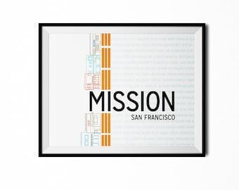 San Francisco Mission Neighborhood Print