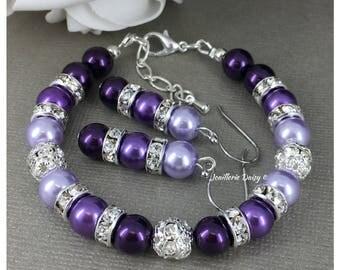 Shades of Purple Bracelet, Purple Pearl Bracelet, Bridesmaid Gift on a Budget, Pearl Jewelry, Pearl Bracelet, Purple Bracelet, Maid of Honor