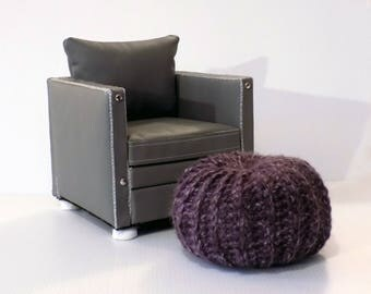 Doll Size Pouf 18 inch doll furniture