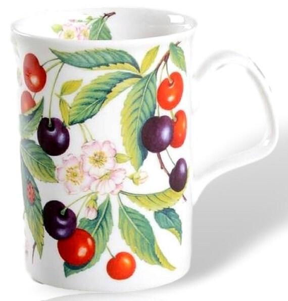 Mug With Cherries, Roy Kirkham Bone China Mug, Coffee Cup With Sweet Cherry Design