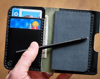 "MADE-TO-ORDER ""Park Sloper Junior"" Small notebook wallet and pen - Horween shell cordovan"
