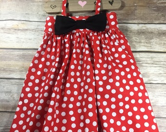 Bow Dress, Minnie Bow Dress, Red and Black Dress, Minnie Inspired, Disney Dress, Girls Dress