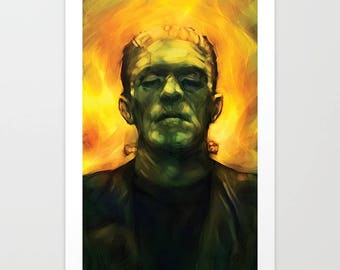 Frankenstein's Monster Canvas Art Print 11x17 inches signed by Barry Sachs Illustration