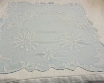 Vintage Handmade Appliqued Flowers, Blue and White Handkerchief, Very Unusual, S
