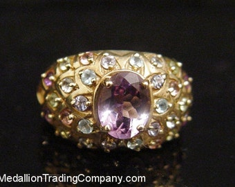 10k Yellow Gold Wide Faberge Inspired Dome Ring Amethyst Topaz Tananite Size 6.5