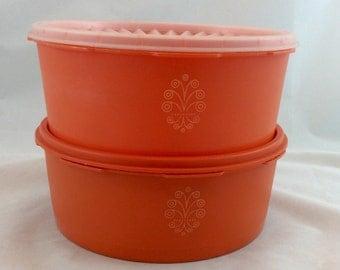 Vintage Orange Tupperware Canisters,  Servalier Containers, Tupperware Orange Canisters