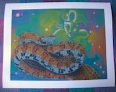 Reptile Art Print, Colored Pencil Snake Drawing