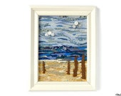 Fabric Beach Scene Collage Art 'Driftwood' in Black Coloured Frame