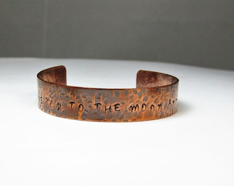 Love You To The Moon and Back Hand Stamped Copper Cuff Bracelet  Rustic Copper Bracelet,  Copper Bangle  Gifts for Her Anniversary Gift