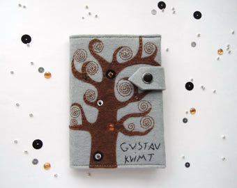 Passport Cover Gustav Klimt - Unique Passport Holder - Vegan Wallet - Travel gift - Tree of life hand embroidered