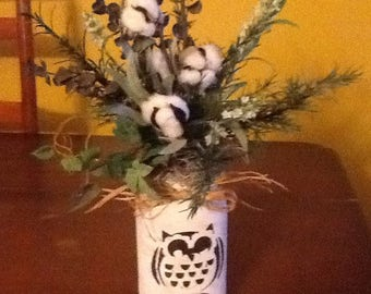 Primitive Country Mason Jar-Cotton,Owl.