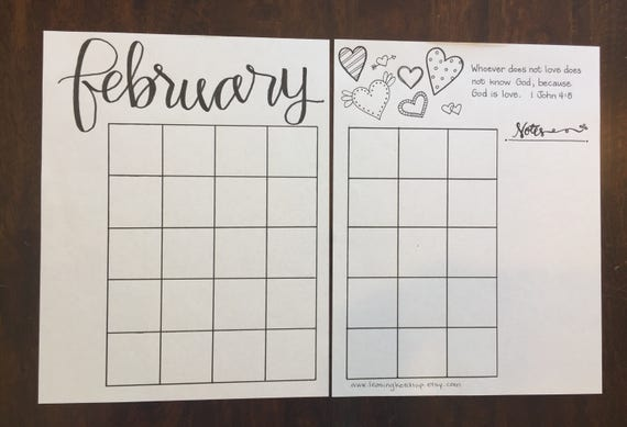Calendar Layout Bullet Journal : Bullet journal printable template instant download