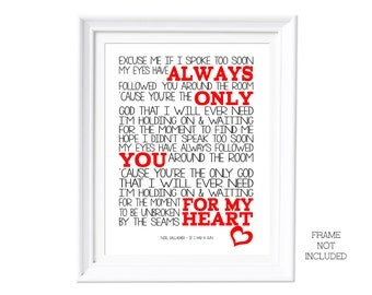 Song Lyrics If I had a Gun Noel Gallagher ( Print Only) Lyric Art Song Print Music Lyrics Gift Typography Printed Lyrics