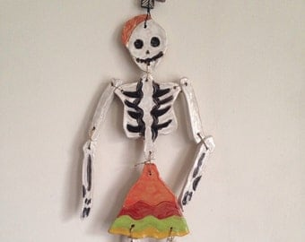 Ceramic skeleton decoration - quirky gift for art lovers