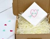 Arrow and Heart Personalised Hanky - personalized handkerchief - cotton anniversary - wedding hanky - embroidered hankie - bride's hanky