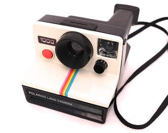 Vintage Polaroid 1000 Land Camera, Instant Film Land Camera, Retro Polaroid, SX-70 Film Camera, Red Button, Rainbow Polaroid 1000 Camera