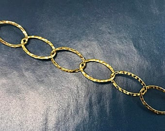 1 Foot Gold Filled Chain 20mm Oval Marquee hammered chain -Gold Filled Chains 20mm x 16mm-  GC316