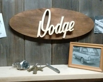 Dodge Script Emblem Oval Wall Plaque-Unique scroll saw automotive art created from wood for your garage, shop or man cave.