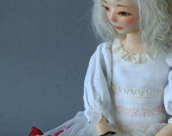 "Art doll , OOAK, handmade doll "" Luna and birds"""