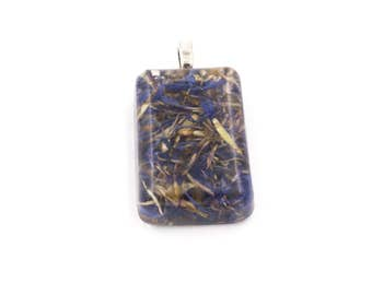 Blue Cornflower Petals in Resin Pendant Large Rectangle