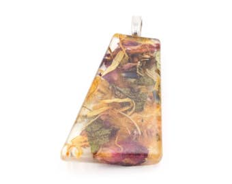 Midsummer Litha flower petals and herbs necklace in Resin on metal Pendant