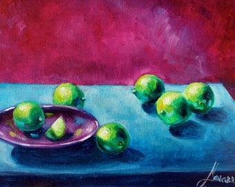 kitchen wall decor-painting-kitchen wall art-oil painting- citrus-lime green wall art- limes-oil painting-kitchen still life-kitchen decor