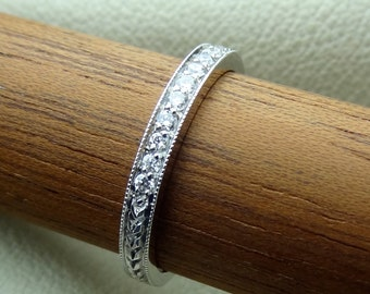 18k solid White Gold Thin Art Deco Vintage / Antique Style Diamond Wedding Band with Engraving and Milgrain 2.2 mm wide