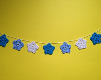 Boy's Nursery Garland Bunting, Crochet, Nursery Decor, Banner, New Baby, Blue