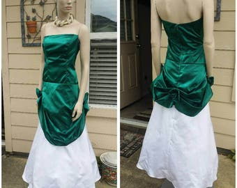 Beautiful Vintage strapless white and green dress