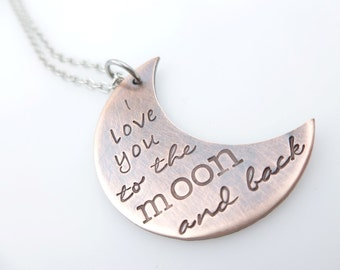 Loved to the moon and back, Handstamped Necklace, Antique Copper, Sentimental Jewelry, Jewelry for her, Gift for Mother, Mom gift idea