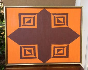 Retro Optical Art, Brown and Orange, 25""