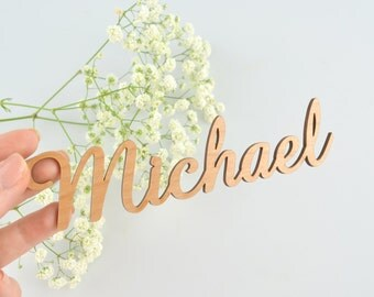 1x Laser Cut Wooden Name Placecards Wedding, Baptism, Christening, Birthday